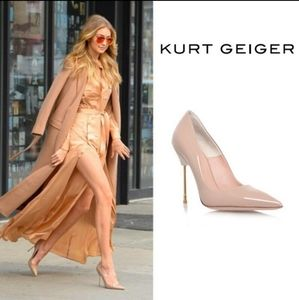 New Kurt Geiger London Britton Patent Leather Nude  Stiletto Pumps
